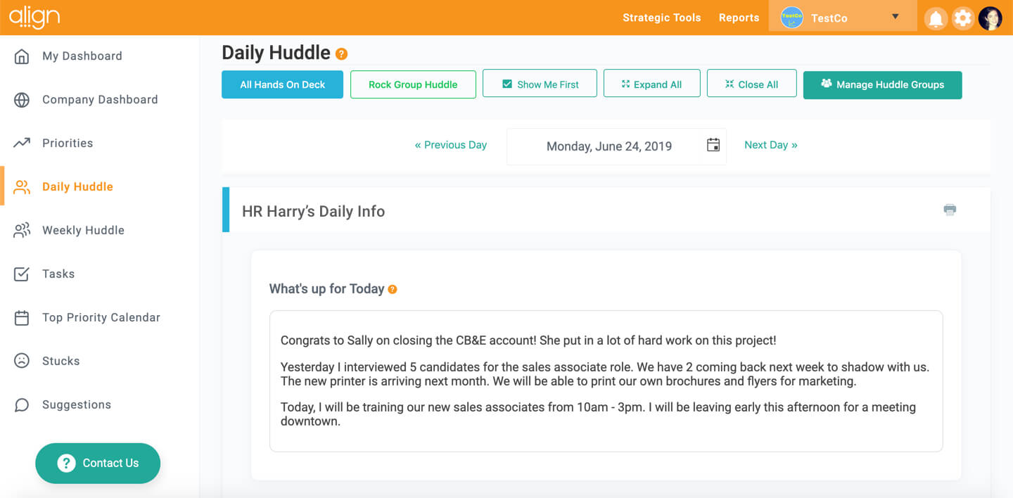 Align Daily Huddle Meetings