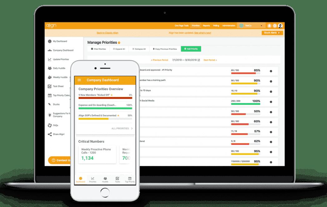 Align Strategic Planning and OKR Software Mobile and Desktop Screenshot